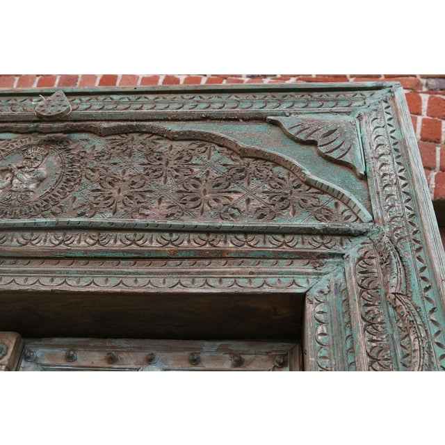 Late 19th Century Great Imposing Krishna Painted Indian Door For Sale - Image 5 of 8