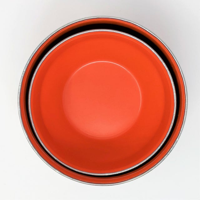 Vintage Red Enameled Metal Nesting Bowls -A Pair For Sale - Image 4 of 8