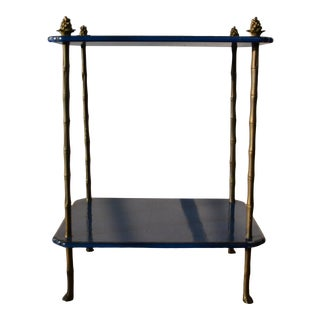 Regency Style 2-Tier Faux-Bamboo Accent Table For Sale
