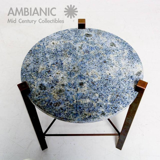 Blue Blue Granite & Solid Bronze Side Table For Sale - Image 8 of 10