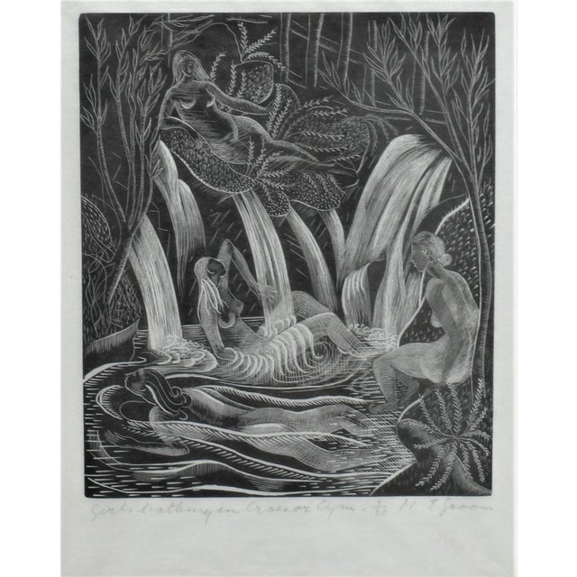"Iconic American Art Deco Etching ""Girls Bathing in Craesor Gym"" 3/30 Ed by M. E. Groom 1920s from a Palm Beach estate...."