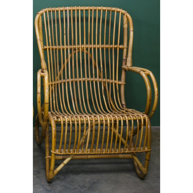 Vintage tortoise bamboo and rattan low arm chairs, circa 1950s. Designed by Dirk van Sliedregt for Rohe Noordwolde....