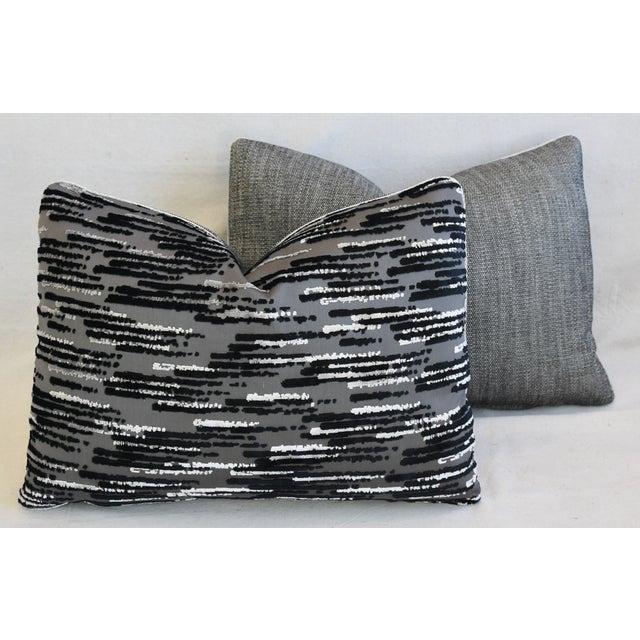 """Modern Zinc Textiles Cut & Uncut Velvet Feather/Down Pillows 22"""" X 16"""" - Pair For Sale - Image 11 of 13"""