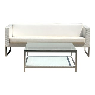 "$7,300 Tidelli ""Cubo"" Modern Indoor/Outdoor Matte Aluminum & Woven Vinyl Sofa With Glass Coffee Table – a Set For Sale"