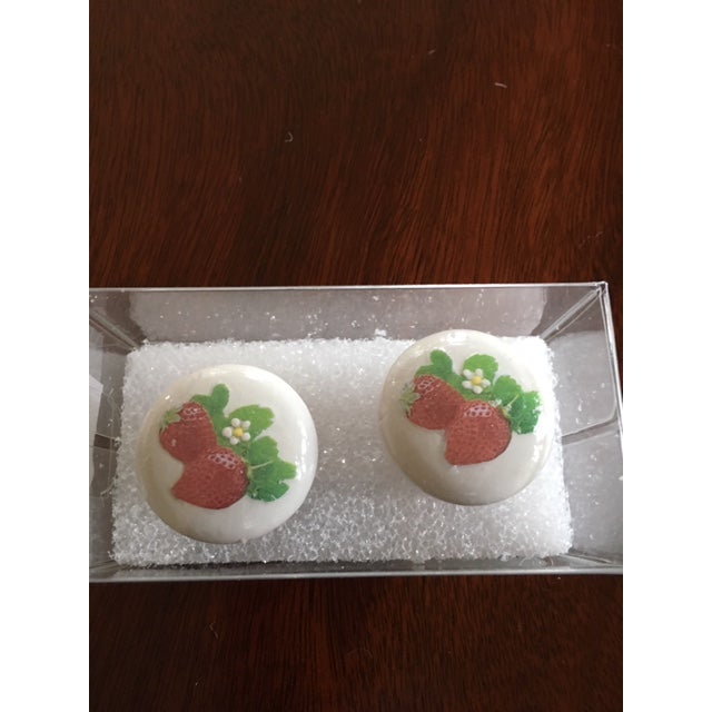 Strawberry Fields Hand Painted/Decoupage Knobs - A Pair For Sale - Image 4 of 4