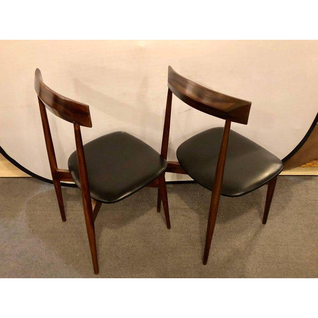 Mid-Century Modern Set of Four Mid-Century Modern Slat Back Black Leather Side Chairs For Sale - Image 3 of 9