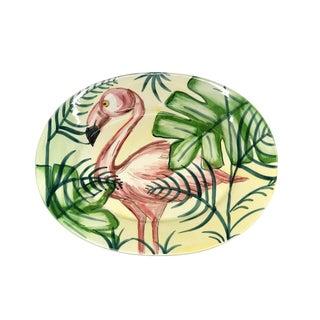 Hand Painted Italian Flamingo Platter For Sale