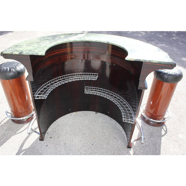 1940s 1940s Vintage French Art Deco Macassar Ebony Semicircle Dry Bar Set- 3 Pieces For Sale - Image 5 of 13