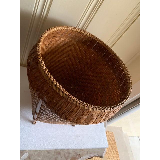 Asian Vintage Balinese Decor Storage Basket For Sale - Image 3 of 12