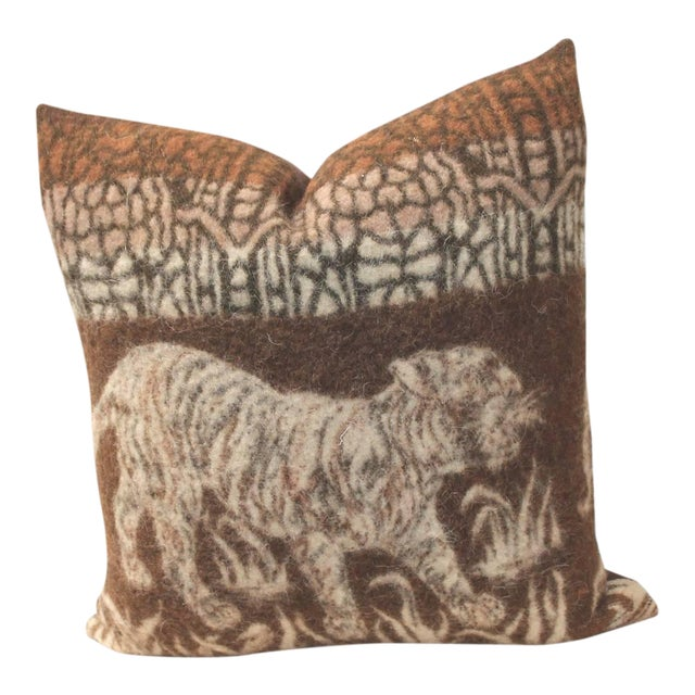 Pictorial Tiger Blanket Pillow For Sale