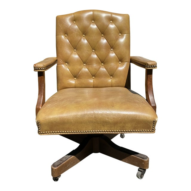 Vintage Executive Tufted Leather Swivel Office Desk Chair For Sale
