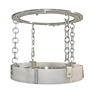 Modern Deco-Industrial Alabaster Ring Chandelier