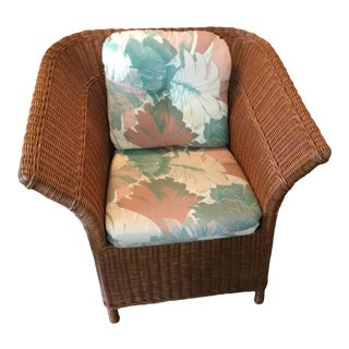 Wicker Wingback Chair & Cushion For Sale