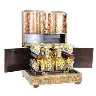 French Inlaid Tantalus Liquor Cabinet With Decanters For Sale