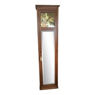 Antique Arts & Crafts Mission Style Quarter Sawn Oak Working Grandfather Clock For Sale