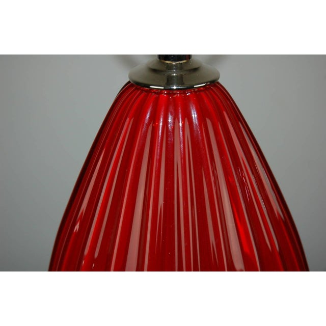 Silver Vintage Murano Glass Table Lamps Scarlet Red For Sale - Image 8 of 9