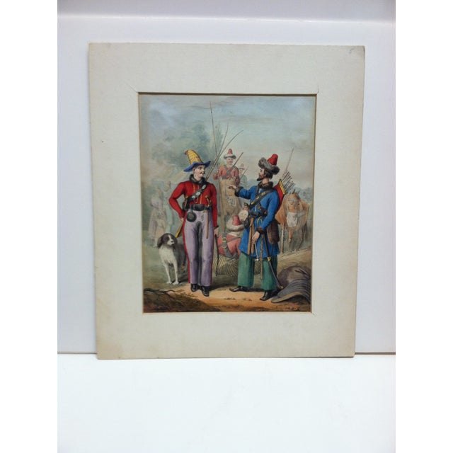 """Mid 19th Century Mid 19th Century Antique """"2 Soldiers Meet"""" Hand-Colored Matted Print For Sale - Image 5 of 5"""