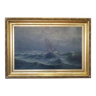 Antique 19th Century Oil On Canvas Nautical Painting Thomas Martin Jensen (Denmark 1831-1916)