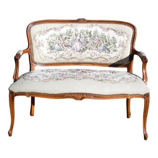 Vintage French Provincial Louis XV Style Tapestry Settee Chateau d'Ax Italy For Sale