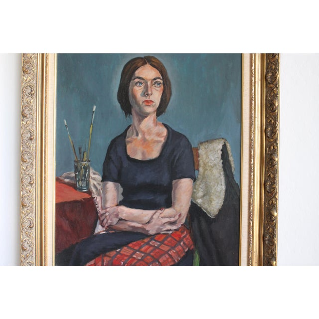 Blue Ben Wilks Painting, Studio Portrait, Untitled For Sale - Image 8 of 11