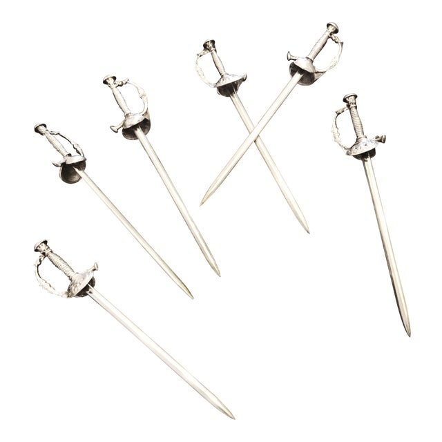 Tiffany & Co Sterling Silver Cocktail Swords - Set of 6 For Sale