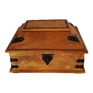 1900s Asian Handcrafted Walnut Box For Sale