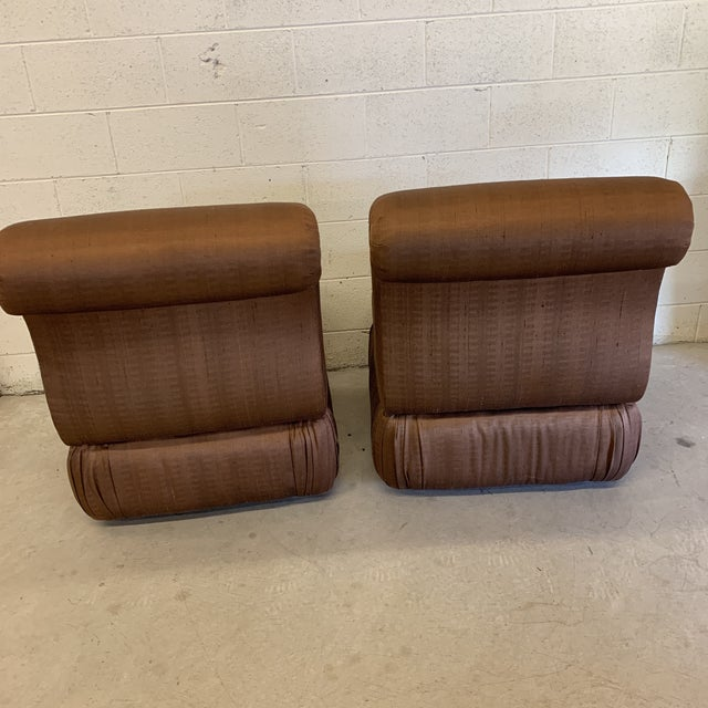 1990s Large Hollywood Regency Copper Silk Colored Slipper Chairs - a Pair For Sale - Image 5 of 12