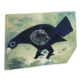 1952 Vintage Sylvia Leuchovius Large Ceramic Bird Plaque, Signed For Sale