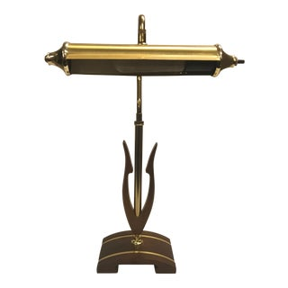 Mid-Century Walnut With Brass Inlay Desk Lamp For Sale