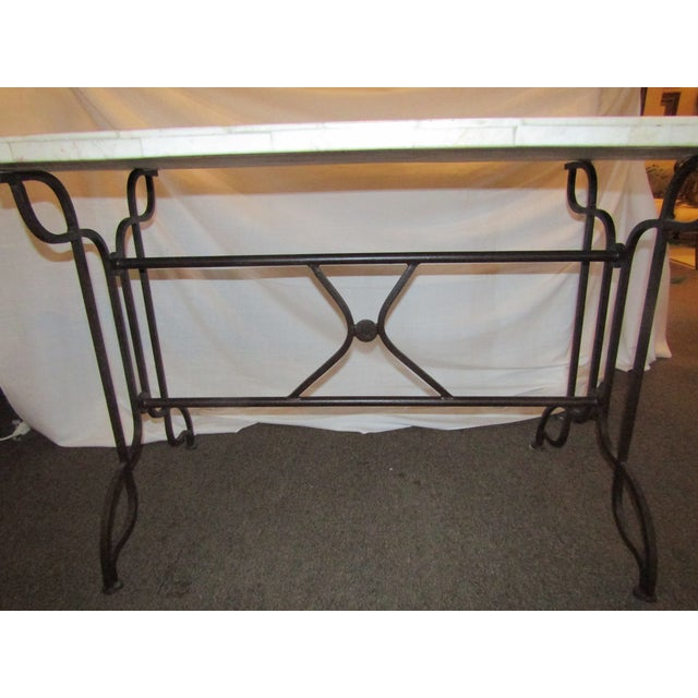 Marble Topped Wrought Iron Table - Image 5 of 6