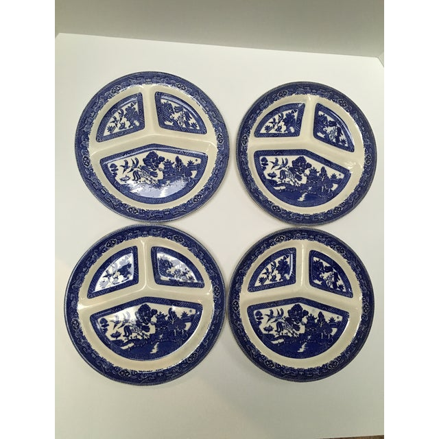 English Traditional Vintage Blue Willow Romarco Plates - Set of 4 For Sale - Image 3 of 8