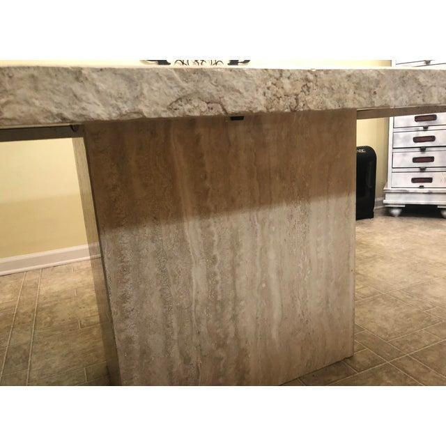 Stone International Italian Travertine Dining Table For Sale - Image 4 of 6