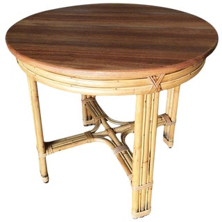 Restored X Pattern Round Rattan End Table With Mahogany Top For Sale