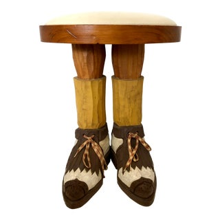 1960s Vintage Hand Carved Solid Wood Folk Art Golfer Foot Stool For Sale