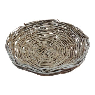 Vintage Large Round Primitive Style Willow Woven Basket/ Bowl For Sale