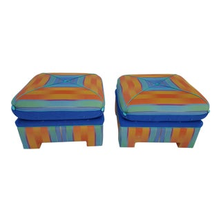 Mid-Century Modern Square Stools / Ottomans - A Pair For Sale