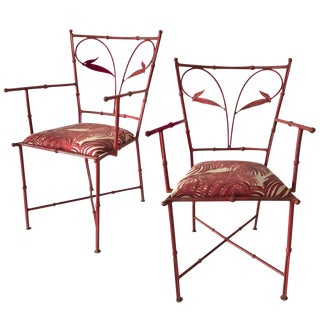 1960s Red Bamboo-Look Patio Chairs - A Pair