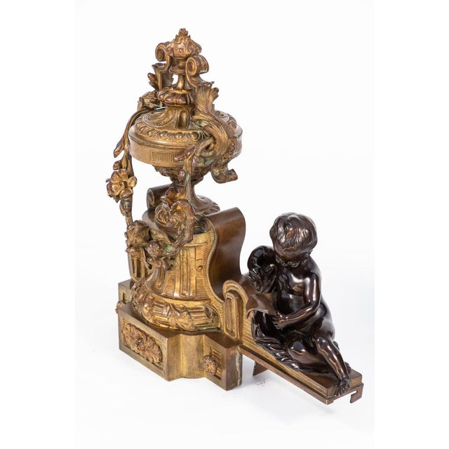 Late 19th Century 19th Century French Bronze Chenets - a Pair For Sale - Image 5 of 12