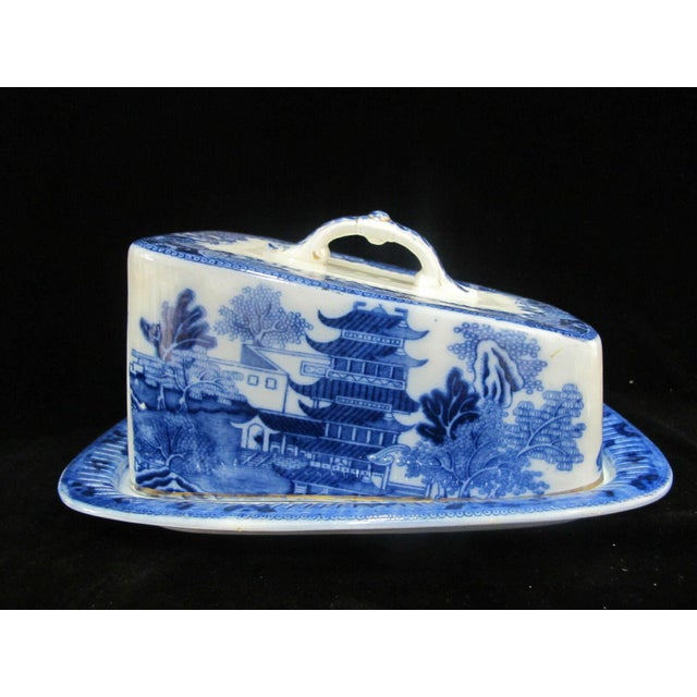 Antique Broseley Chinese Flow Blue & White Pattern Serving Dish With Lid For Sale - Image 11 of 11