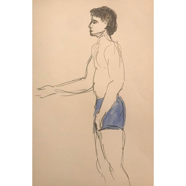 Figurative Portrait of a Male Bather by Inga-Britta Mills, C. 1980s For Sale - Image 3 of 3