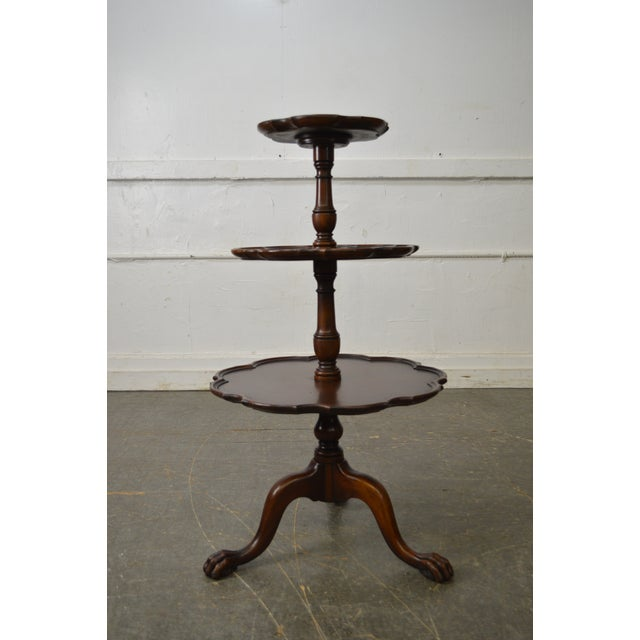 Mahogany Vintage Mahogany Chippendale Style Claw Foot 3 Tier Dumbwaiter Table For Sale - Image 7 of 11