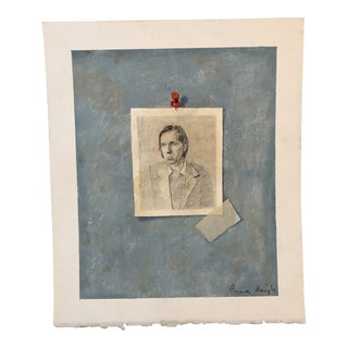 Original Trompe-L'oeil Charcoal &Paint Wes Anderson Portrait by Anna Heigh For Sale