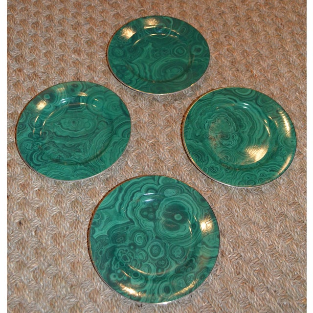 Hollywood Regency Neiman Marcus Malachite Dessert/Tapas Plates - 4 For Sale - Image 3 of 3