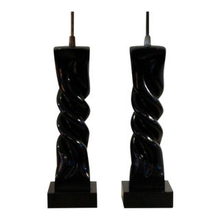 1950s Modern Heifetz in Black Lacquer Table Lamps - a Pair For Sale