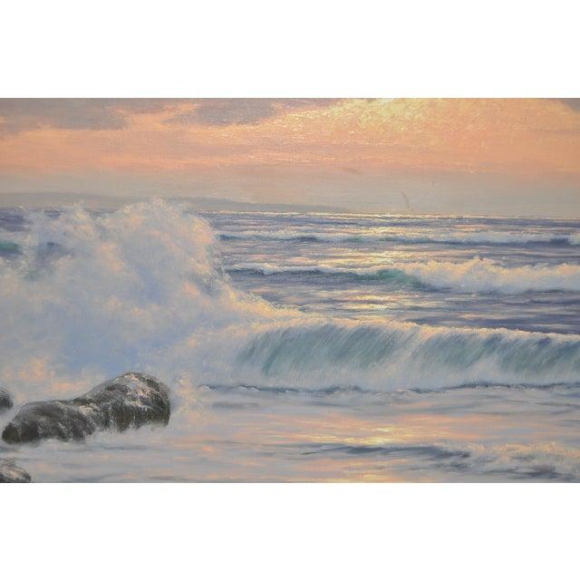 """Coastal Sunset"" Original Oil Painting by R. Lorenz - Image 6 of 8"