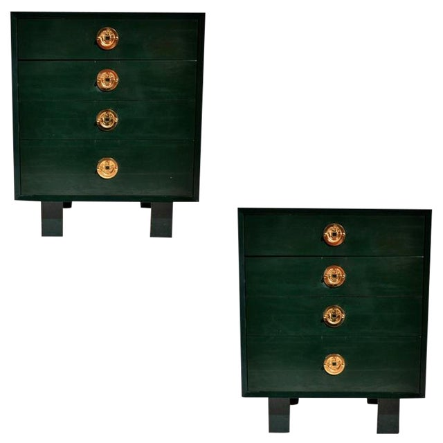 George Nelson for Herman Miller Green Lacquer Pier Chests or Dressers - a Pair For Sale