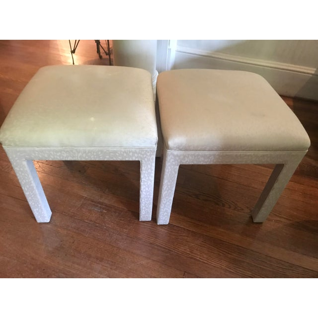 Great looking pair of vintage Parsons stools or benches. Sturdy and well made. Perfect for under a console table or in...