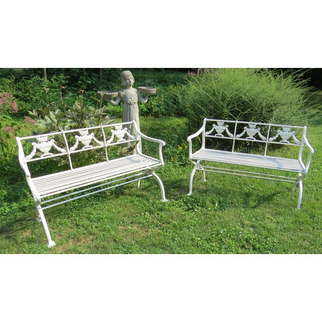1900s 1900s Karl Friedrich Schinkel Style Neoclassical Cast Iron Patio Suite - 4 Pc. Set For Sale - Image 5 of 13