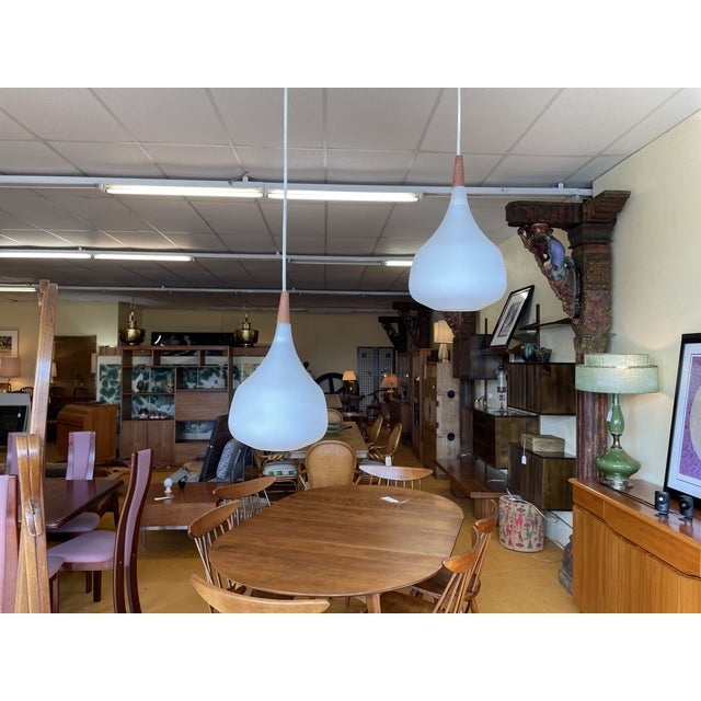 Adjustable Height Mid Century Teak and Glass Pendant Light / Lamp - One Left For Sale In Seattle - Image 6 of 9