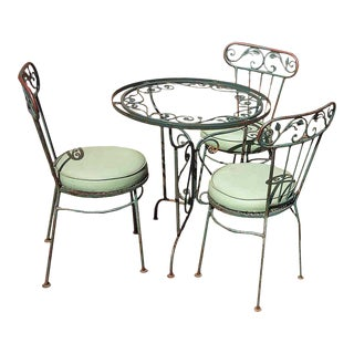 Late 20th Century Wrought Iron Green Garden Table and Chair Set For Sale